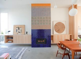 Multi-generational home using coloured glass mosaic chips embedded in the concrete floor