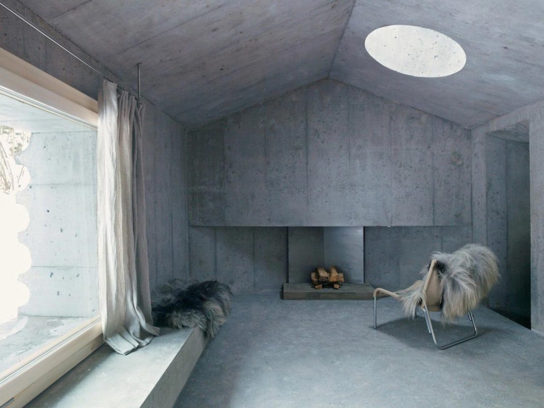 An unusual holiday cabin made of concrete in Switzerland