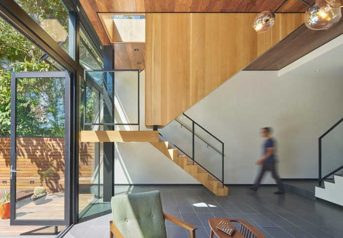 Although The Living Spaces Are Often Compressed By The Tight Urban Site,  This Meandering Stairwell Unites The Home Functionally, Visually, And  Spatially, ...