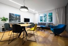 Corner apartment in Bratislava creating a pleasant feeling of airiness and simplicity