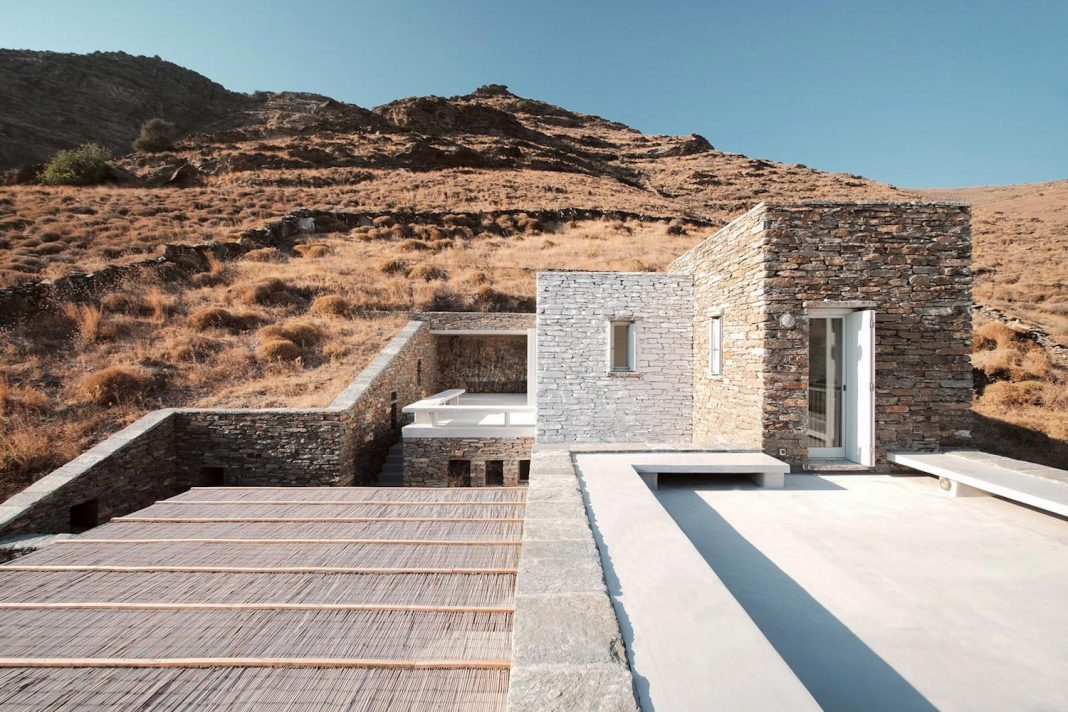 Stone house in Greece built trough a traditional method called