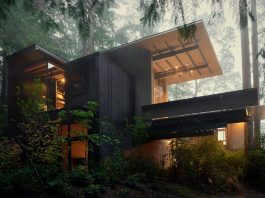 Weekend cabin intentionally subdued in color and texture, allowing the lush natural surroundings to take precedence