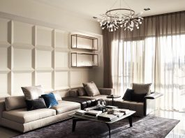 Elegant apartment using gold tones located in Taichung city, Taiwan