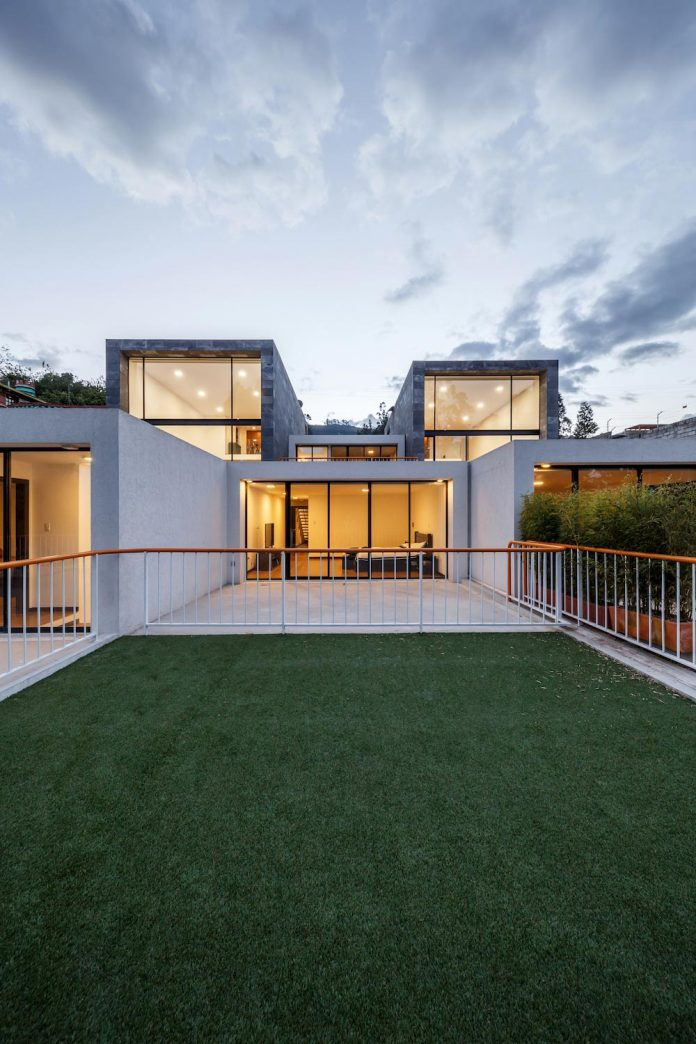four single-family homes that have a direct relationship - visual