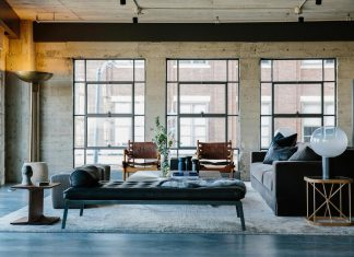 Loft in Los Angeles showing an assortment of woods, textures, and metal finishes to visually warm and soften the space