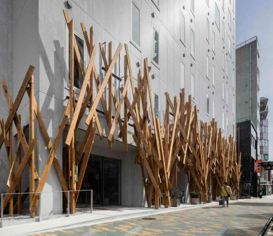 New type of hotel situated near Tokyo Sky Tree in the dense urban district of Oshiage