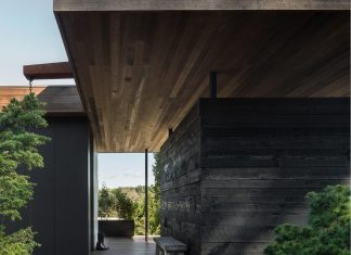 Simple modern structure of a house with a purity of materials and a quiet palette which brings calmness in the home