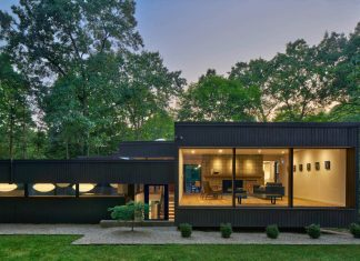 Interior renovation of a single family residence in the forests of Kalamazoo, Michigan by Mathison Architects