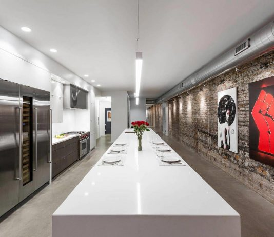 Modern authentic loft-like living environment that expressed an industrial yet refined aesthetic by Ryan Duebber Architect