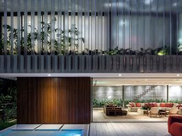 Large space where the boundaries between interior and exterior are diluted