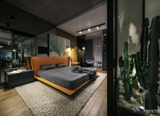 Warm atmosphere of an apartment in terms of industrial-like space