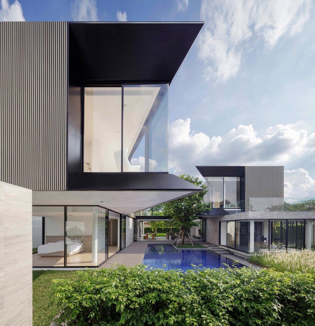 The Aluminium House located on a single land plot in suburb of Bangkok