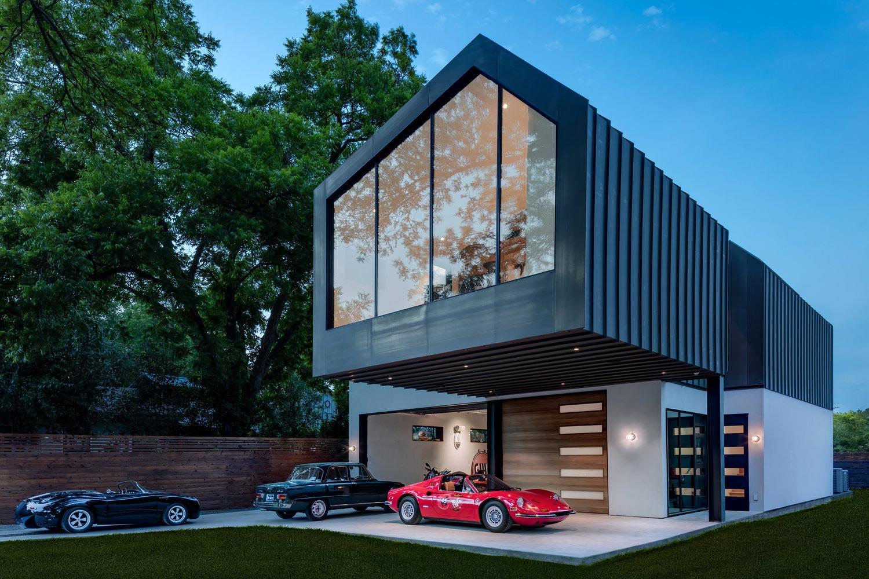 Matt Fajkus Designs Autohaus Asymmetric House Showroom