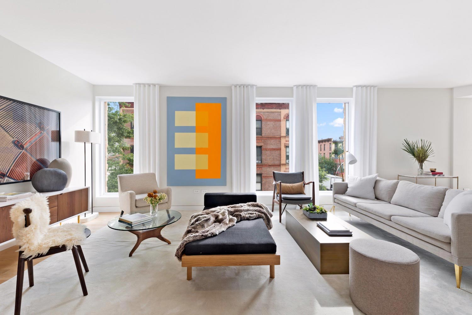 Warm Contemporary Apartment Living Park Slope Brooklyn Designed Ash Nyc  Caandesign 01