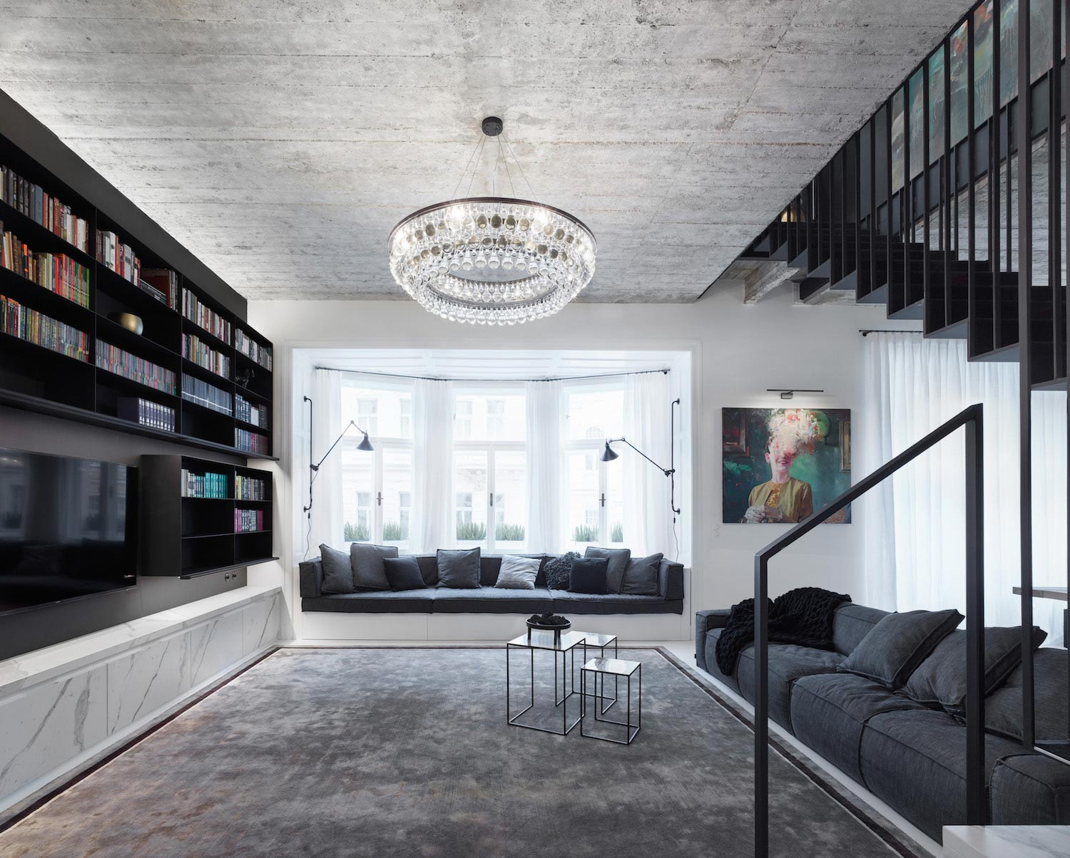 Oooox designed this contemporary apartment in the old town for Apartment design loft prague