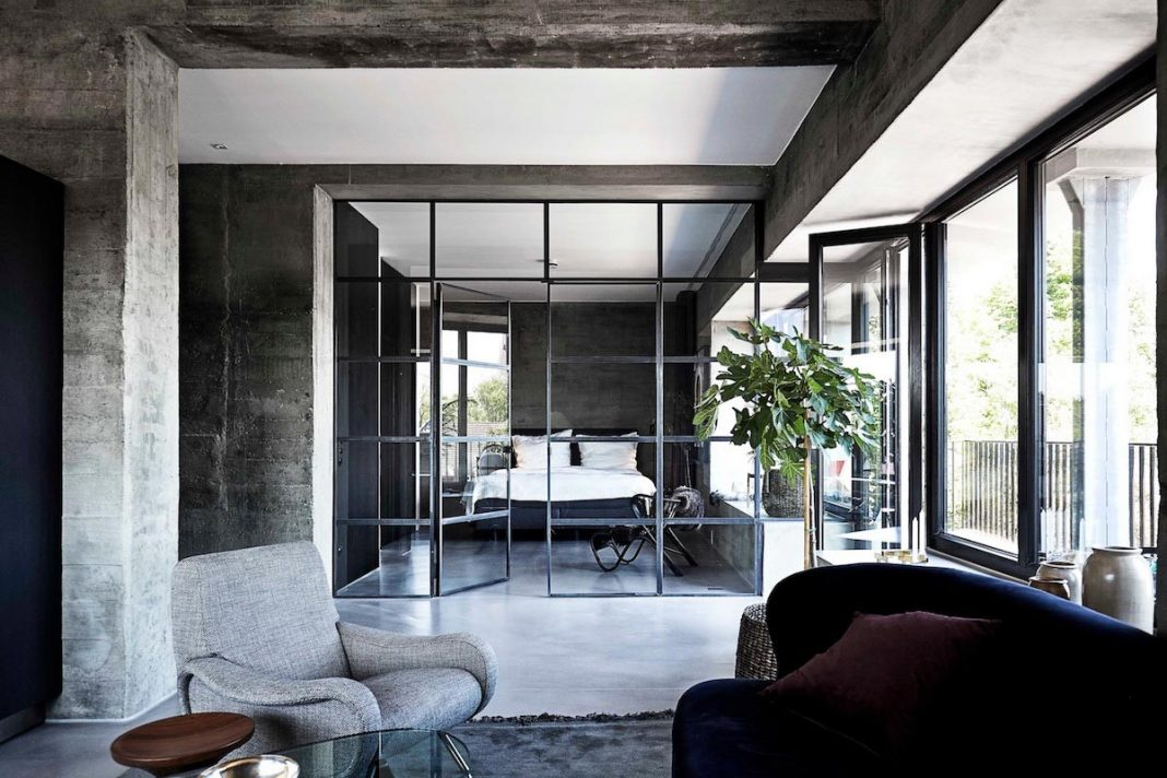 bunker industrial apartment in hamburg by thomas schacht caandesign architecture and home. Black Bedroom Furniture Sets. Home Design Ideas