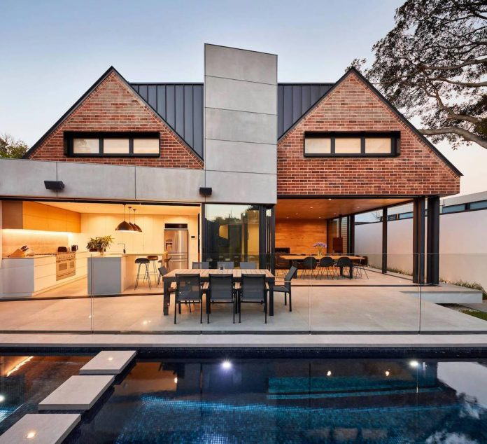 Brick wood and black white touches define this Wood architecture definition
