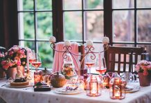 winter decorated table