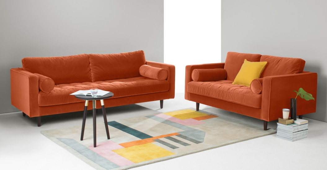 burnt orange sofa