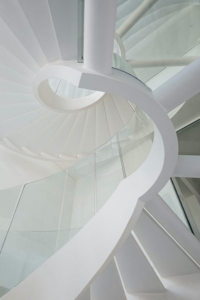 STEEL AND GLASS SPIRAL STAIRS