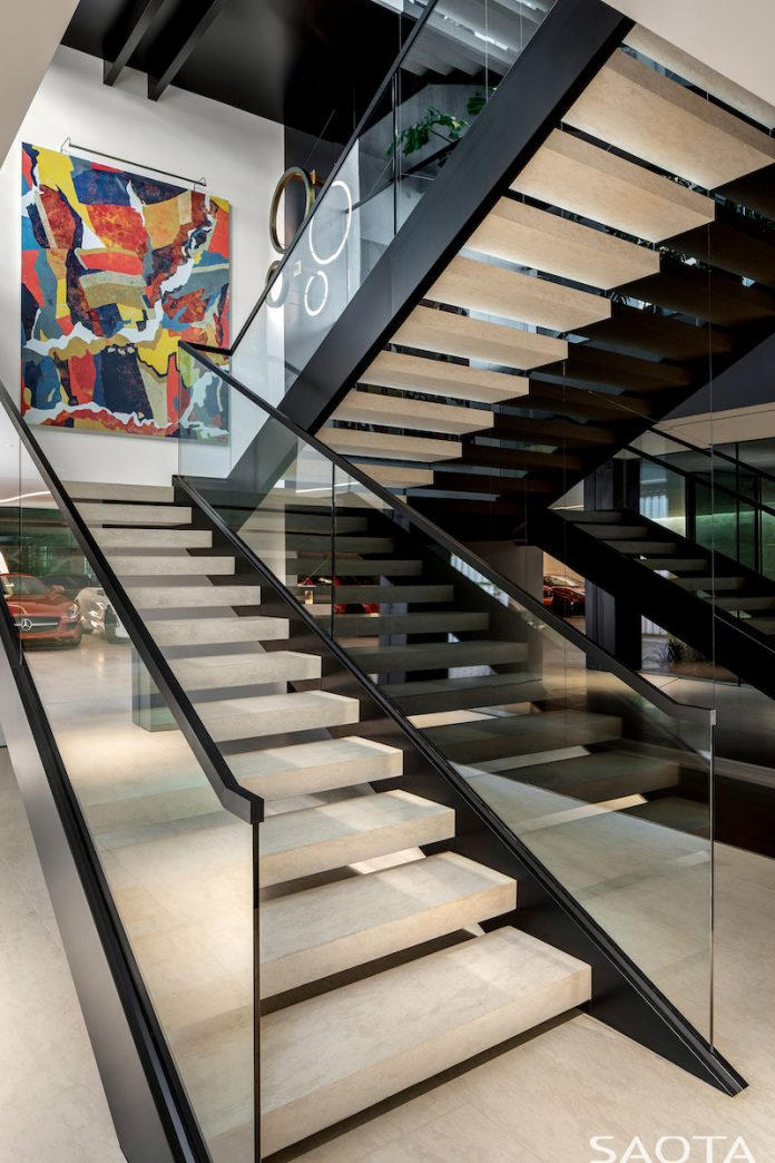 Hillside home in Los Angeles staircase